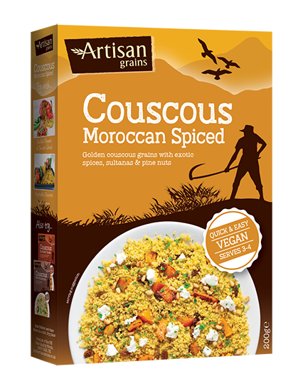 artisan grains moroccan spiced couscous in box packaging