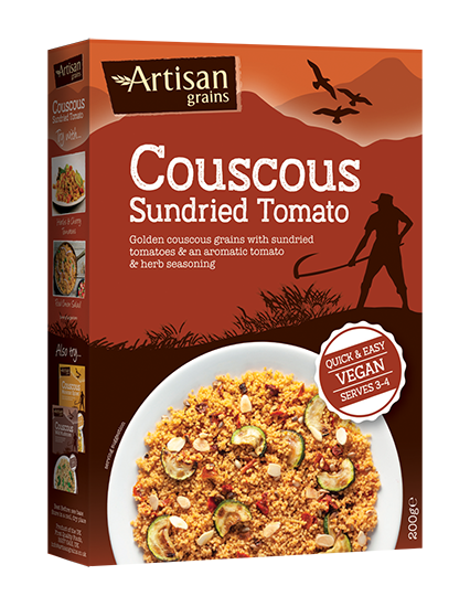 artisan grains sundried tomato couscous in box packaging